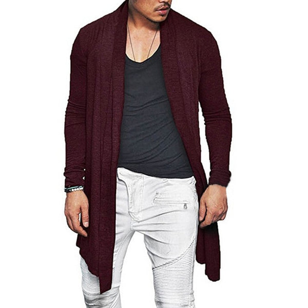 Fit Fashion Waterfall Coat Autumn Spring Solid Cardigan Mens Slim Color Long Cardigan Cloak Outwear Sleeve 46pqfpU