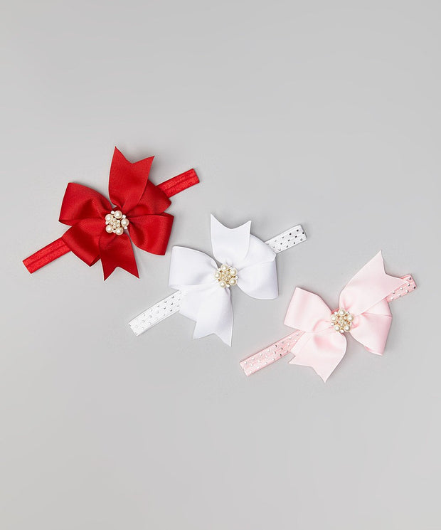Red, White & Pink Pearl Accent Bow Headband Set of 3