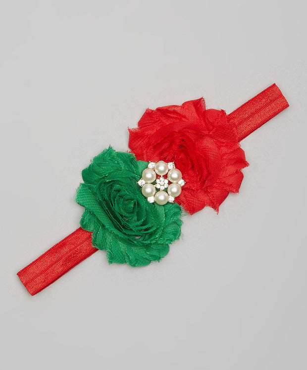 Red and Green Shabby Chic Flower Headband