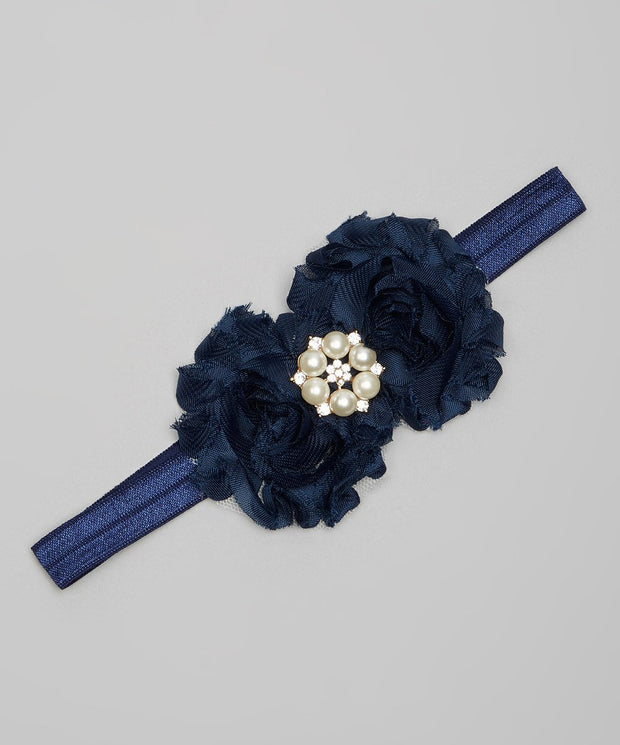 Navy Shabby Chic Rose Headband