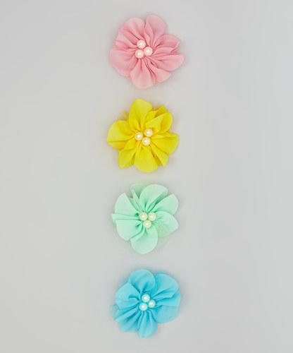 Triple Pearl Flower Clip Set of 4