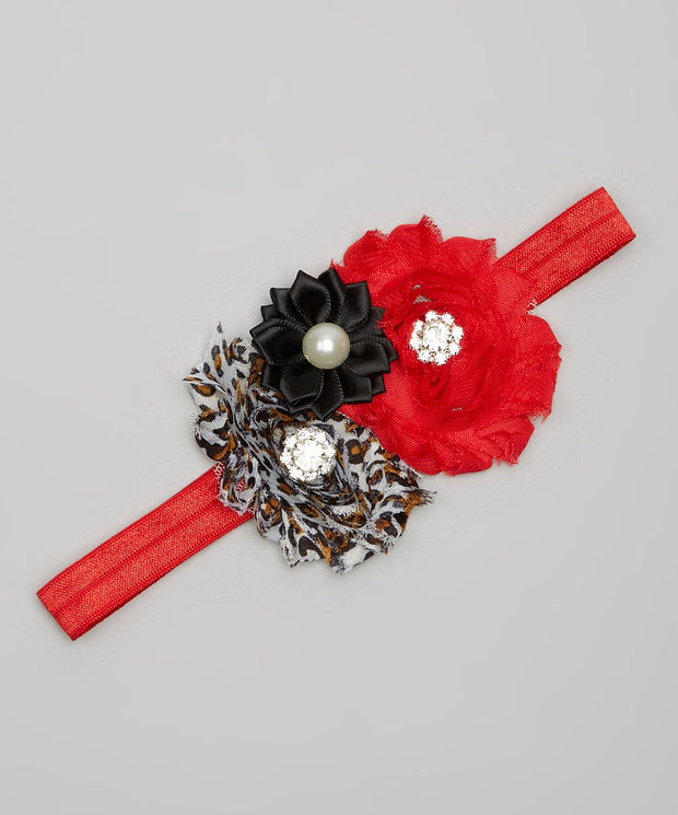 Red & Leopard Shabby Chic Headband