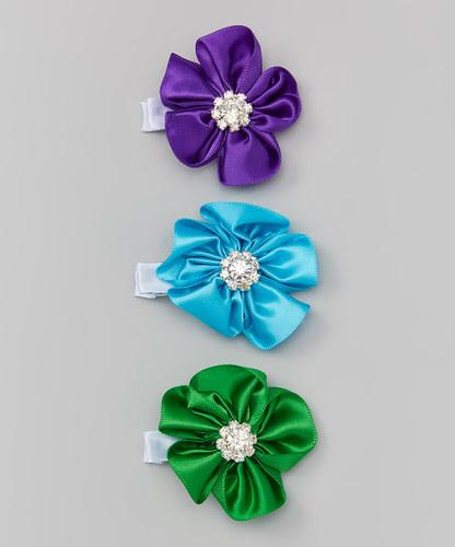Rhinestone Flower Clip set of 3