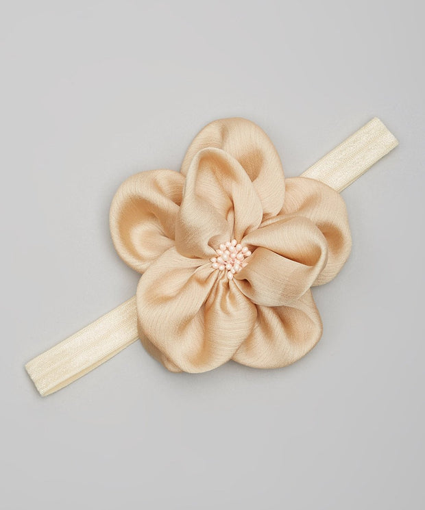 Tan Satin Flower Headband