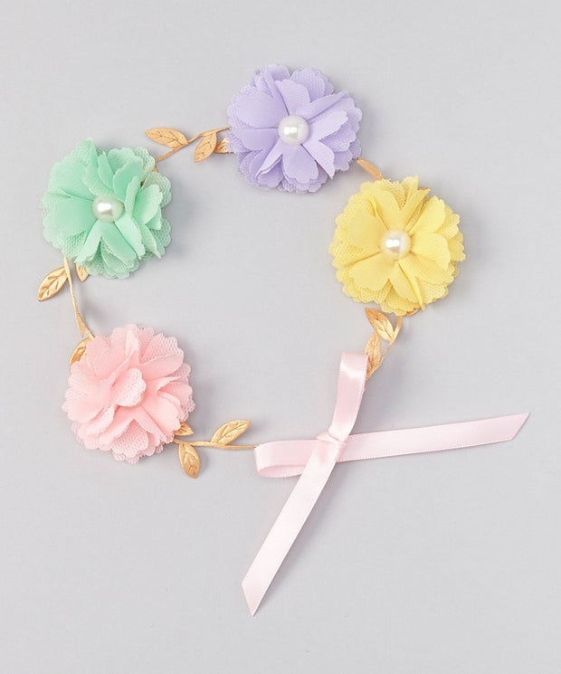 Pink and Yellow Flower Crown Headband