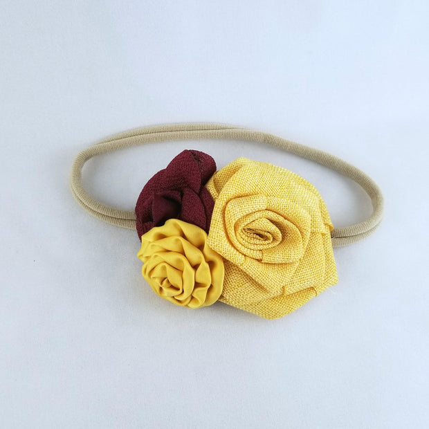 Yellow Mustard  and Burgundy Flower Headband