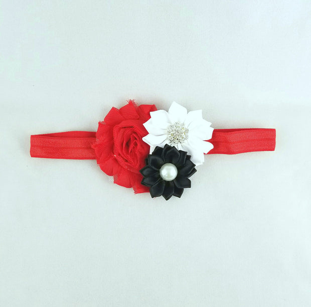 Red, White and Black Shabby Flower Headband