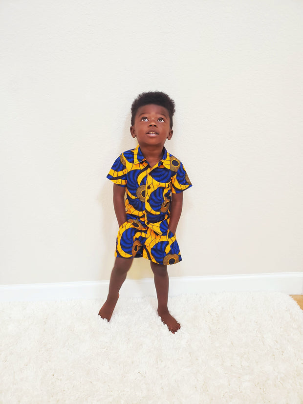 Wase Ankara  Print Boys Two Piece Set - Yellow/Blue