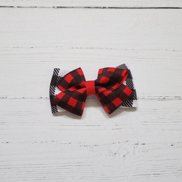 Red and Black Plaid Christmas Bow Hair Clip