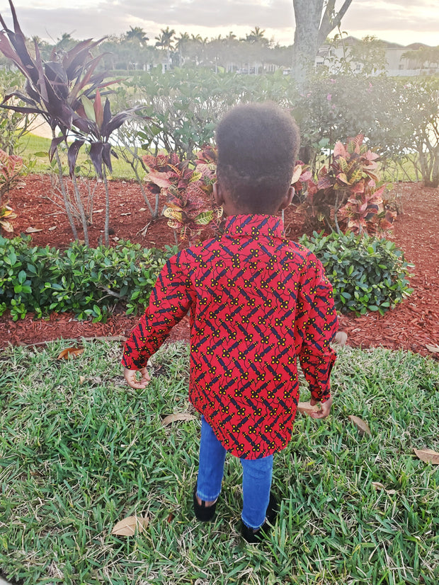 Feranmi Ankara Print Boys Shirt - Red