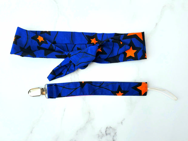 Ankara Print  Pacifier Holder - Blue Star