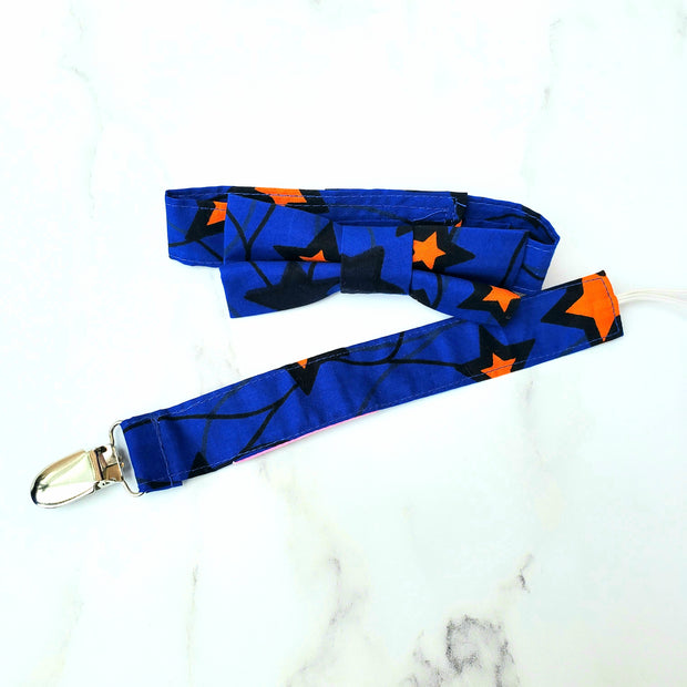 Ankara Print Bow Tie - Blue Star