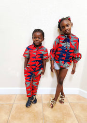 Tobi Ankara Print Boys Pant- Red/Blue