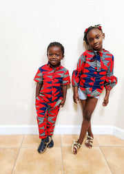 Tobi Ankara Print Boys Shirt- Red/Blue