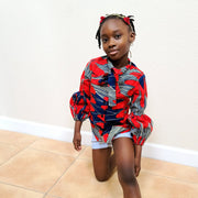 Fife Ankara Print Girls Bubble Sleeve Shirt - Red