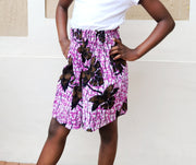 Ebun Ankara Print High Waisted Girls Short - Purple