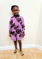 Ebun Ankara Print Girls Long Sleeve Shirt - Purple