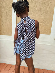 Dara Ankara Print Girls Open Tie Back Shirt - Black/White