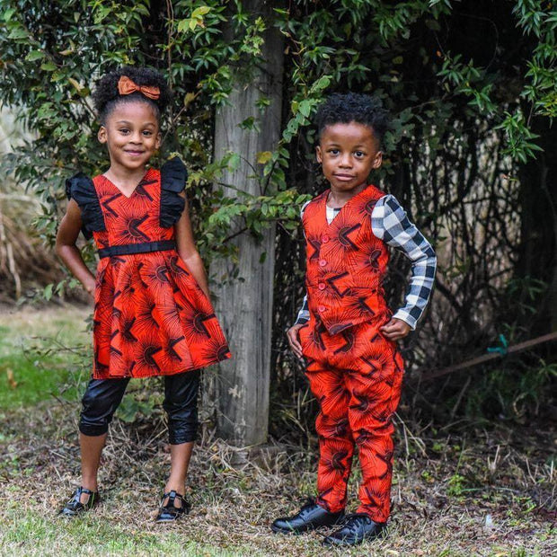 Oluwaseun Ankara Print Boys Two Piece Set - Red/Black