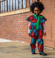Abioye Ankara  Print Girls Two Piece Set - Red/Blue