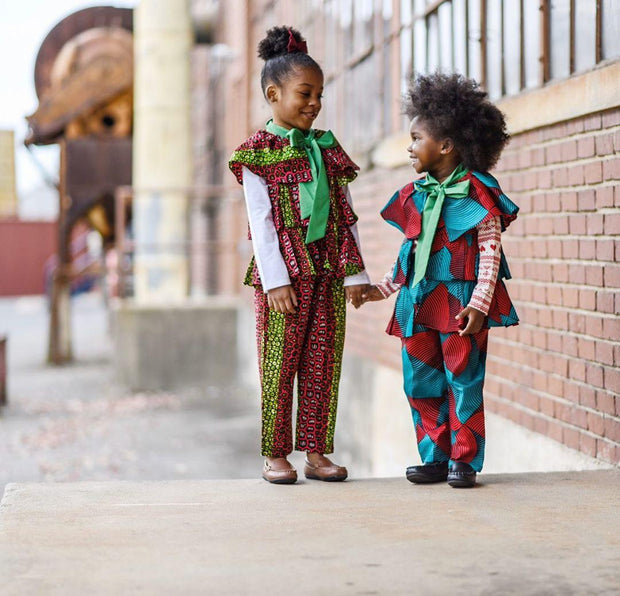 Abioye Ankara  Print Girls Two Piece Set - Pink/Green