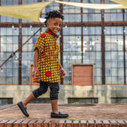 Oba Ankara Print Boys Shirt - Orange