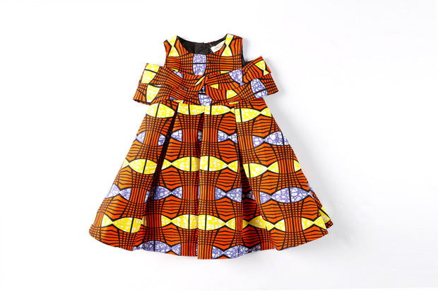 Ireti Ankara  Print Dress - Orange
