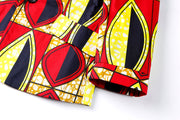 Ife Ankara Print Boys Two Piece Short Suit Set - Red