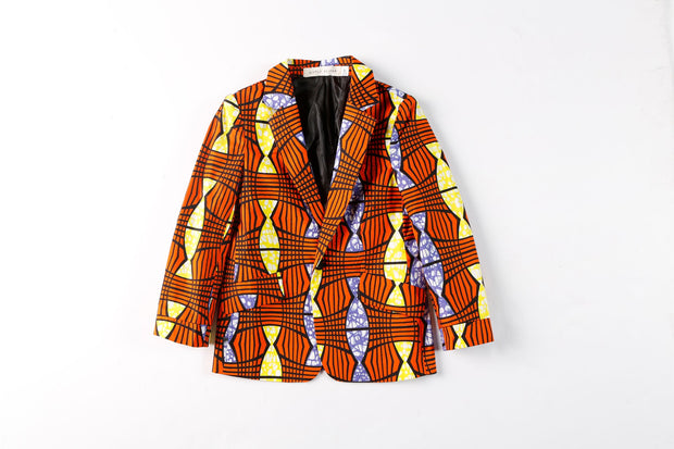Ife Ankara Print Boys Two Piece Short Suit Set - Orange