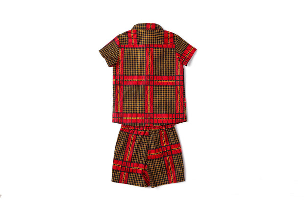 Wase Ankara  Print Boys Two Piece Set - Red/Black