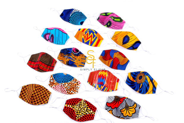 Adult Ankara Print Cotton Face Mask with Filter Pocket and Filter