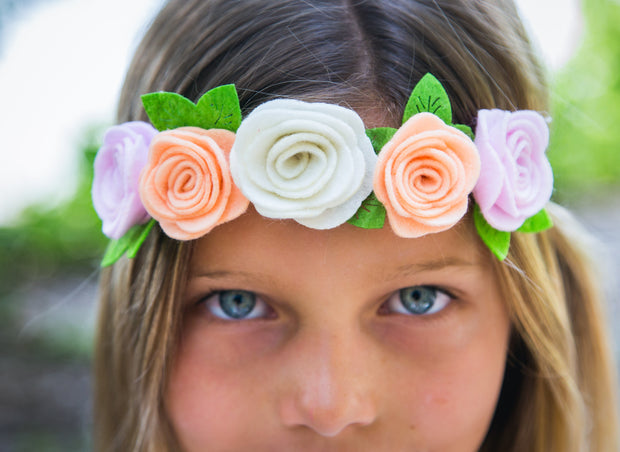 Ombre Felt Flower Crown Headband