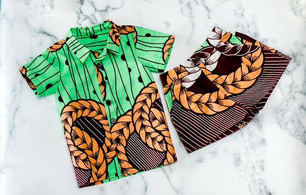 Wase Ankara  Print Boys Two Piece Set - Green/Brown