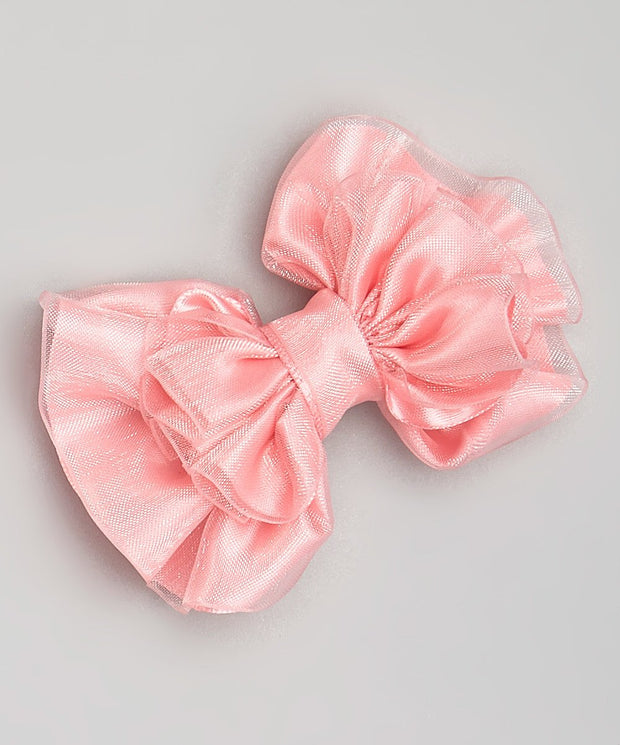 Pink Satin Bow Clip