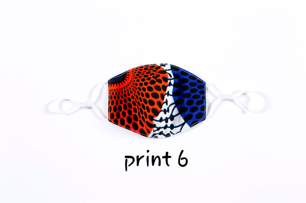 Ankara Print Button Headband For Face Mask