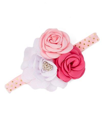 White and Pink Burlup Flower Headband