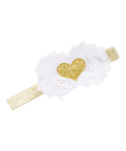 White Shabby Rose and Glitter Heart Headband