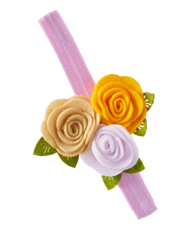 Lavender and Golden Yellow Trio Felt Flower Headband