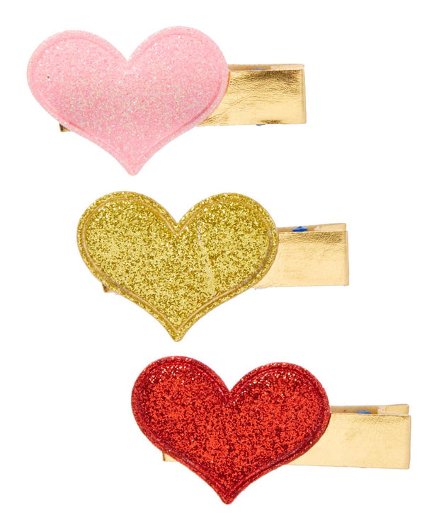 Red, Pink and Gold Sparkle Heart Shaped Hair Clip Set of 3