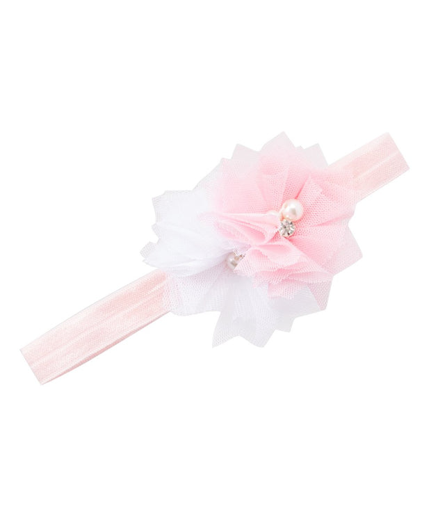 White and Pink Soft Mesh Pearl rhinestone Flower Headband