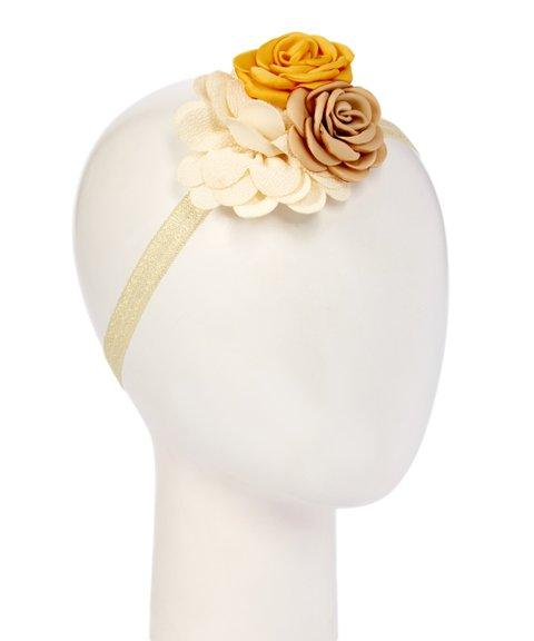 Cream and Yellow Burlup Flower Headband