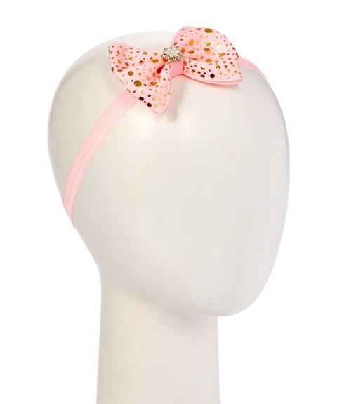 Gold Printed Ribbon Bow Headband