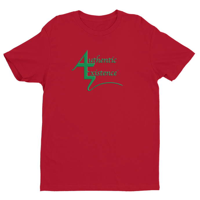 Authentic Existence® Signature Short Sleeve Relaxed Fit T-Shirt - Red with Green Logo - Authentic Existence®