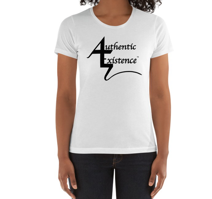 Authentic Existence® Signature Short Sleeve Ladies Fit T-Shirt - White with Black Logo - Authentic Existence®