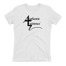 Load image into Gallery viewer, Authentic Existence® Signature Short Sleeve Relaxed Fit T-Shirt - White with Black Logo - Authentic Existence®