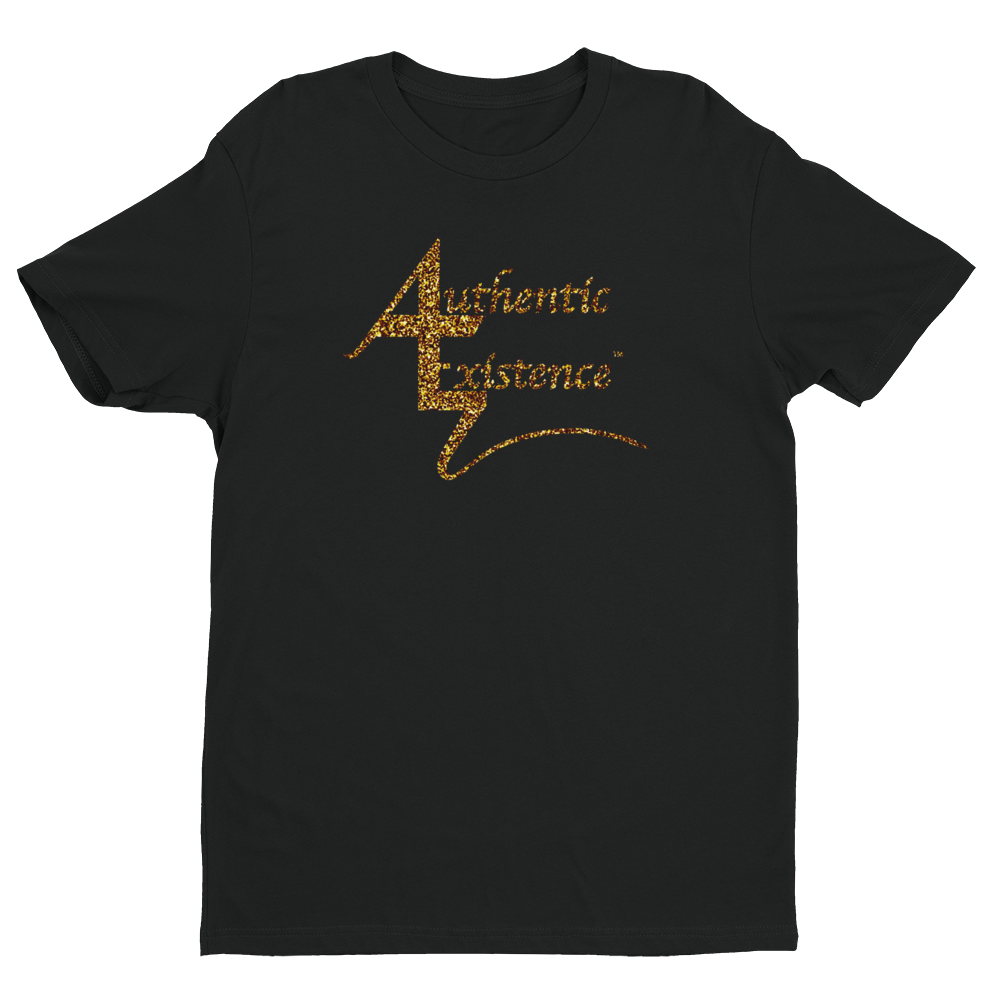 Authentic Existence® Signature Short Sleeve Relaxed Fit T-Shirt - Black with Gold Glitter Logo - Authentic Existence®