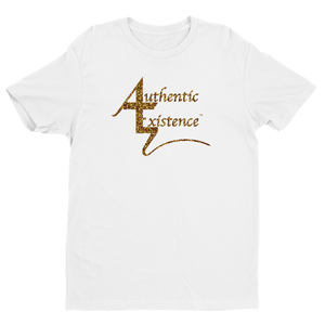 Authentic Existence® Signature Short Sleeve Relaxed Fit T-Shirt - White with Gold Glitter Logo - Authentic Existence®