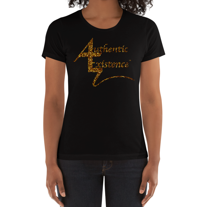 Authentic Existence® Signature Short Sleeve Ladies Fit T-Shirt - Black with Gold Glitter Logo - Authentic Existence®