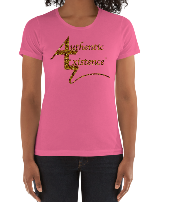 Authentic Existence® Signature Short Sleeve Ladies Fit T-Shirt - Pink with Gold Glitter Logo - Authentic Existence®