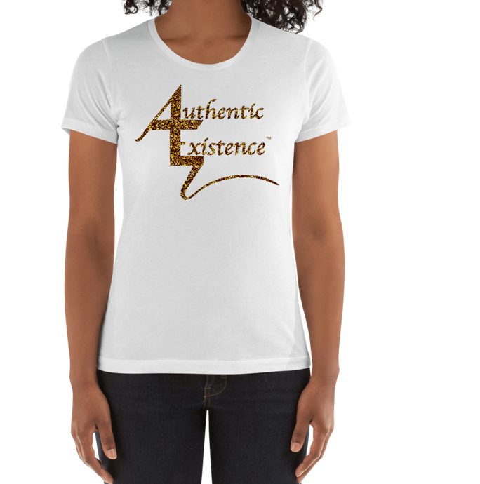 Authentic Existence® Signature Short Sleeve Ladies Fit T-Shirt - White with Gold Glitter Logo - Authentic Existence®